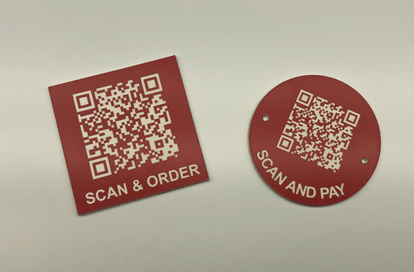 Engraved QR TABLE DISCS, RED with WHITE TEXT, Multiple Sizes and Options