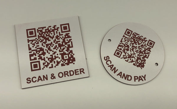 Engraved QR TABLE DISCS, WHITE with RED TEXT, Multiple Sizes and Options