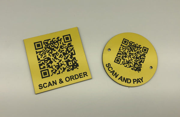 Engraved QR TABLE DISCS, YELLOW with BLACK TEXT, Multiple Sizes and Options