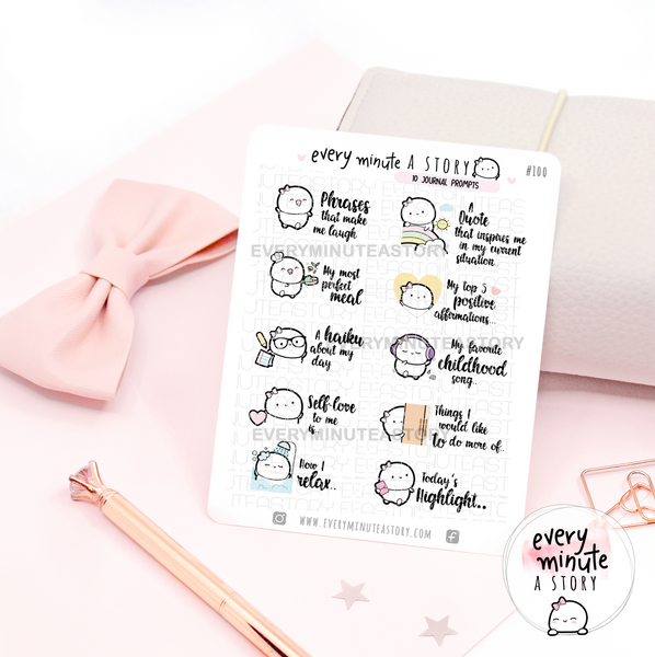 Journal prompts Beanie stickers
