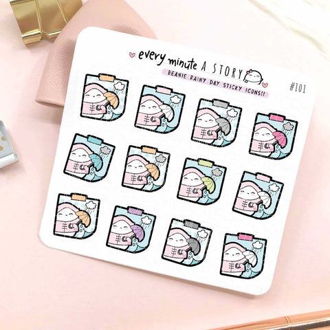 Rainy day sticky icons planner stickers