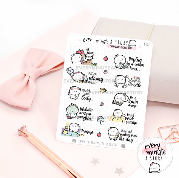 Self care bucket list Beanie stickers