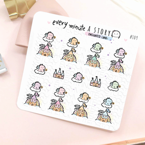 Enchanted land castle dragon stickers