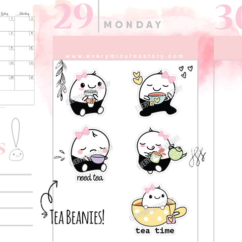 Tea time Beanie planner stickers - Every Minute A Story