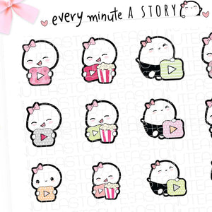 You Tube social media post, binge Beanie planner stickers- LOW STOCK!