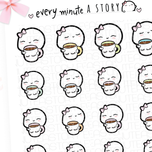 Beanie holding lashes cup planner stickers