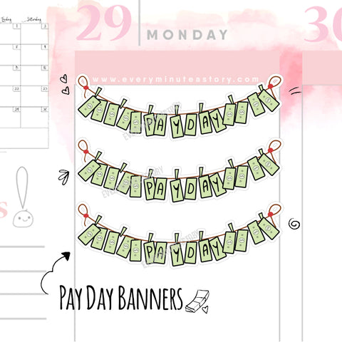 Pay day doodle banner planner stickers - Every Minute A Story