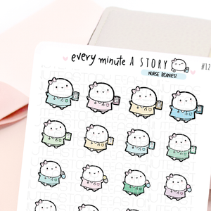 Nurse Beanie planner stickers