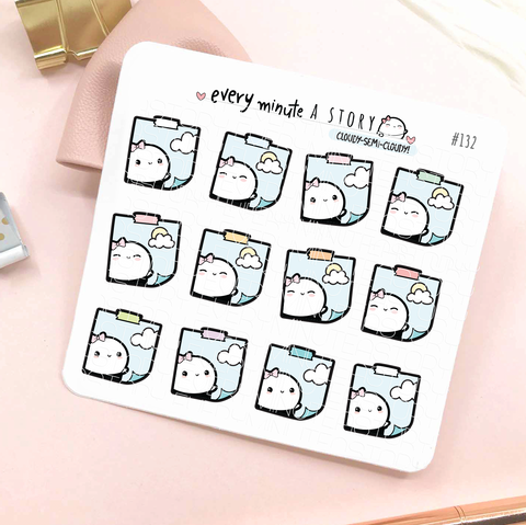 Cloudy/semi-cloudy stickies weather planner stickers-LOW STOCK!