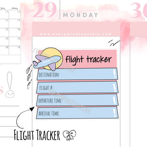 Cute flight tracker Planner Stickers - Every Minute A Story