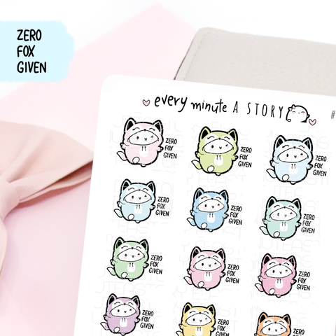 Fox onesie, zero fox given Beanie planner stickers- LOW STOCK!
