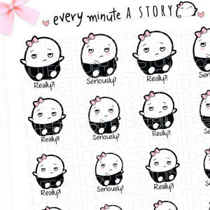 Really?/Seriously? mad Beanie planner stickers