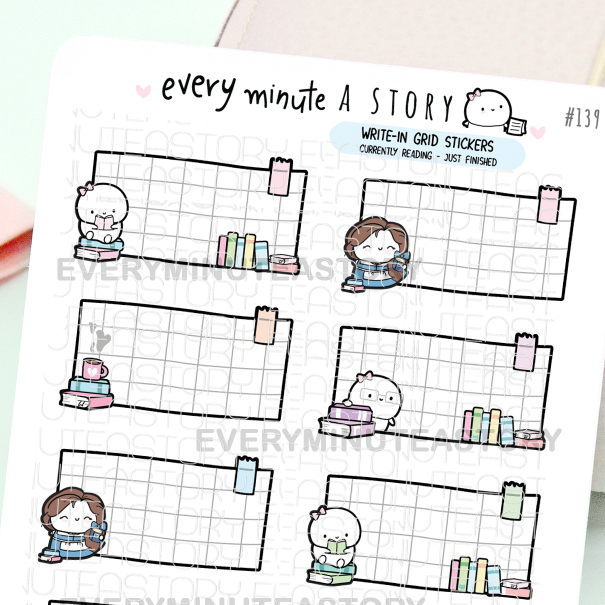 Write-in reading planner stickers, currently reading, just finished