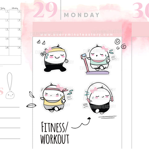 Beanie fitness/workout/gym/cardio planner stickers - Every Minute A Story