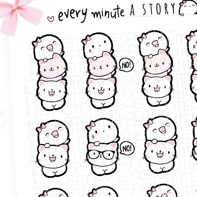Cat lady, Beanie kitty stack planner stickers