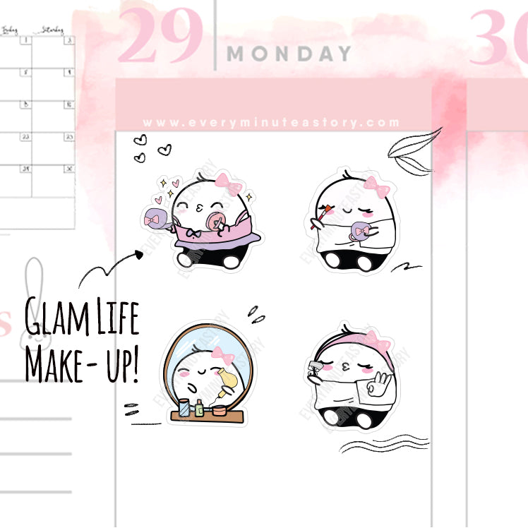 Glam life/make up Beanie planner stickers - Every Minute A Story