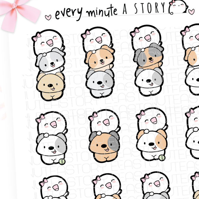 Dog lady, Beanie doggie stack planner stickers