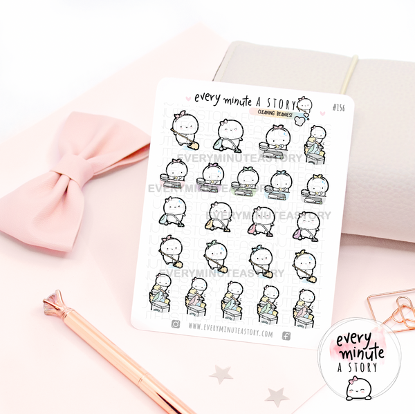 Spring Cleaning, dishes, chores planner stickers