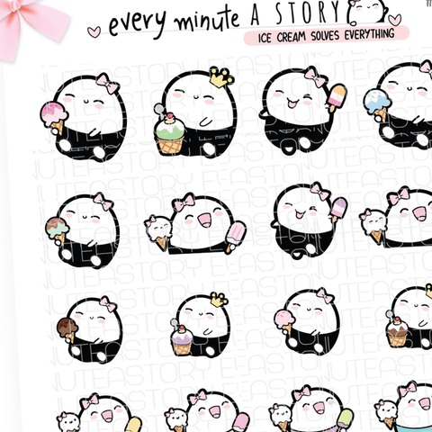 Ice cream eating summer Beanie planner stickers