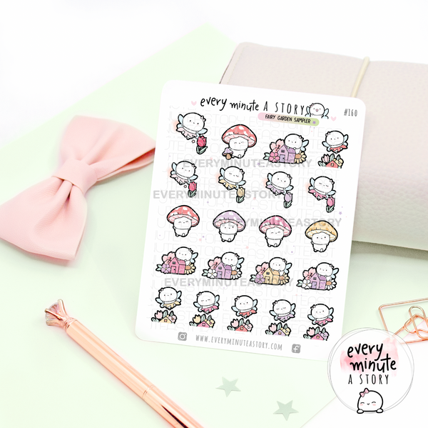 Fairy garden sampler planner stickers, spring, summer