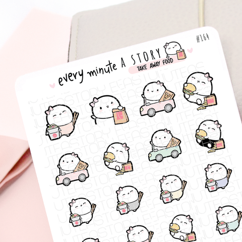 Take out night, take away food planner stickers