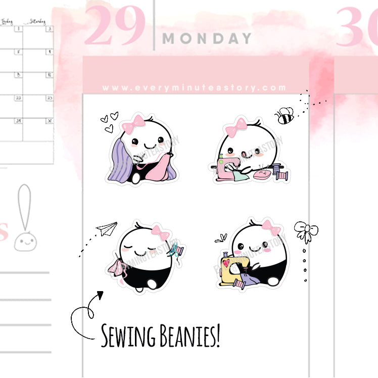 Sewing/quilting beanie hobby planner stickers - Every Minute A Story