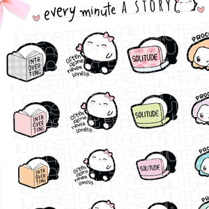 Introvert Beanie, alone time, me time planner Stickers