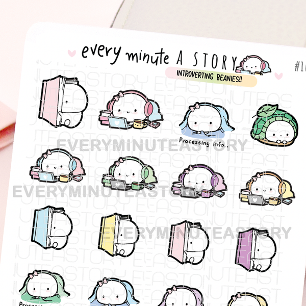 Introverting, me time, leave me alone Beanie stickers
