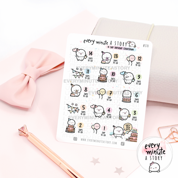 Birthday countdown- 14 day | planner stickers