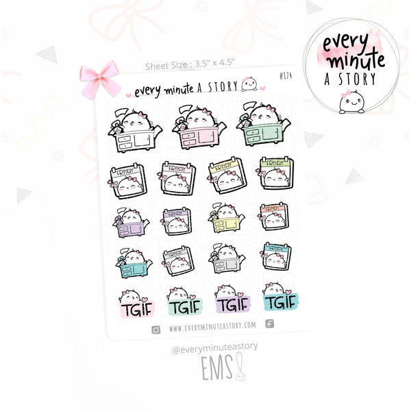 Beanie Friday/Friyay weekend planner stickers - Every Minute A Story