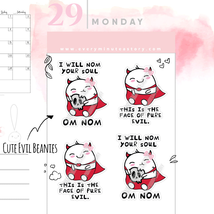 Cute Evil Beanie planner Stickers - Every Minute A Story
