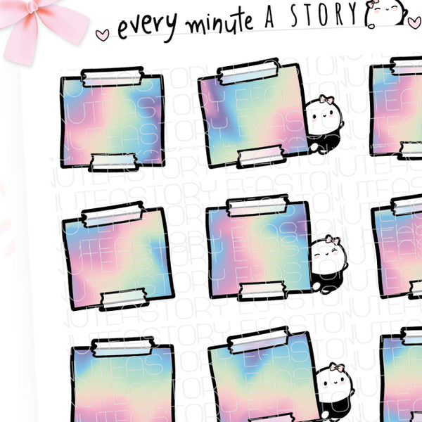 Rainbow note stickies, planner stickers, Hobonichi weeks