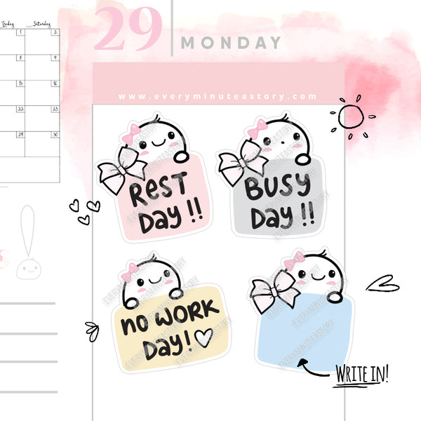 Rest day, no work day, busy day Beanie planner Stickers - Every Minute A Story