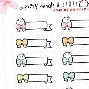 Beanie bow doodle flags, planner stickers