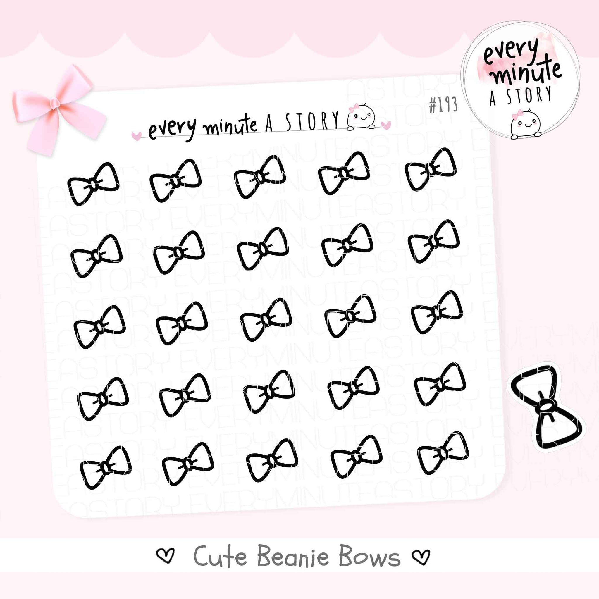 Beanie Bow doodle planner Stickers - Every Minute A Story