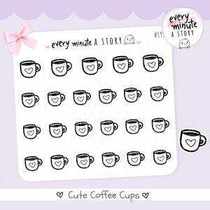 Tea/Coffee cup doodle Stickers - Every Minute A Story
