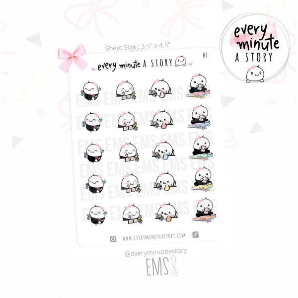 Beanie scrapbooking/crafting planner stickers - Every Minute A Story