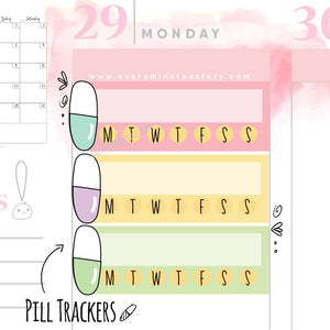 Daily check off pills tracker stickers - Every Minute A Story