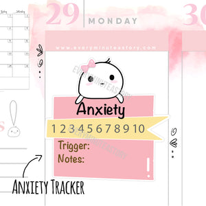 Anxiety tracker planner stickers - Every Minute A Story