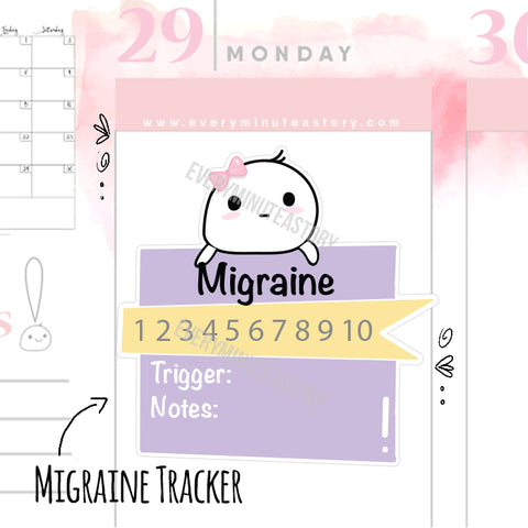 Migraine tracker planner stickers - Every Minute A Story