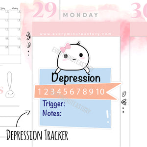 Depression tracker planner stickers - Every Minute A Story