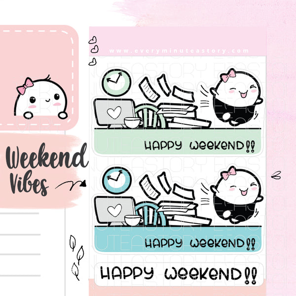 Happy Weekend Beanie planner Stickers