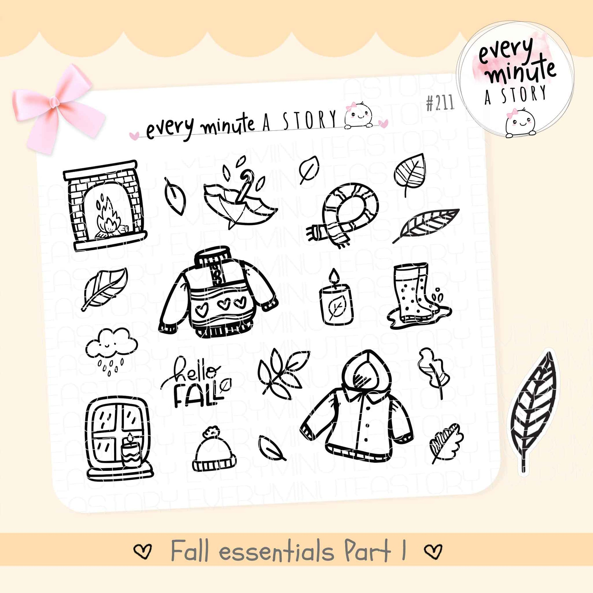 Fall Essentials doodle Planner Stickers Vol.1 - Every Minute A Story