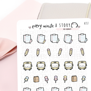 B2S doodles, school planner stickers
