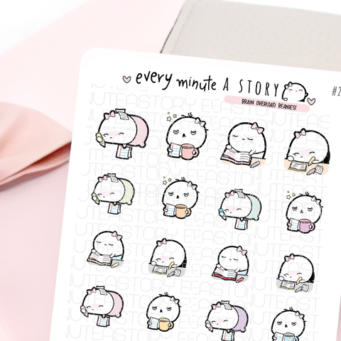 Brain overload Beanies, school, work, B2S planner stickers