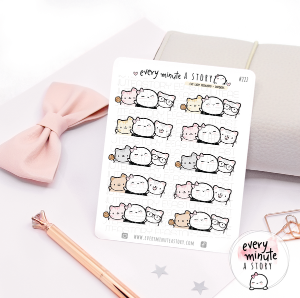 Kitty Beanie peekaboo dividers planner stickers
