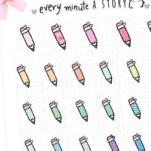 Patterned pencil doodles planner stickers