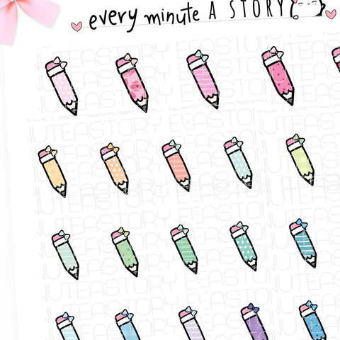 Patterned pencil doodles planner stickers- LOW STOCK!