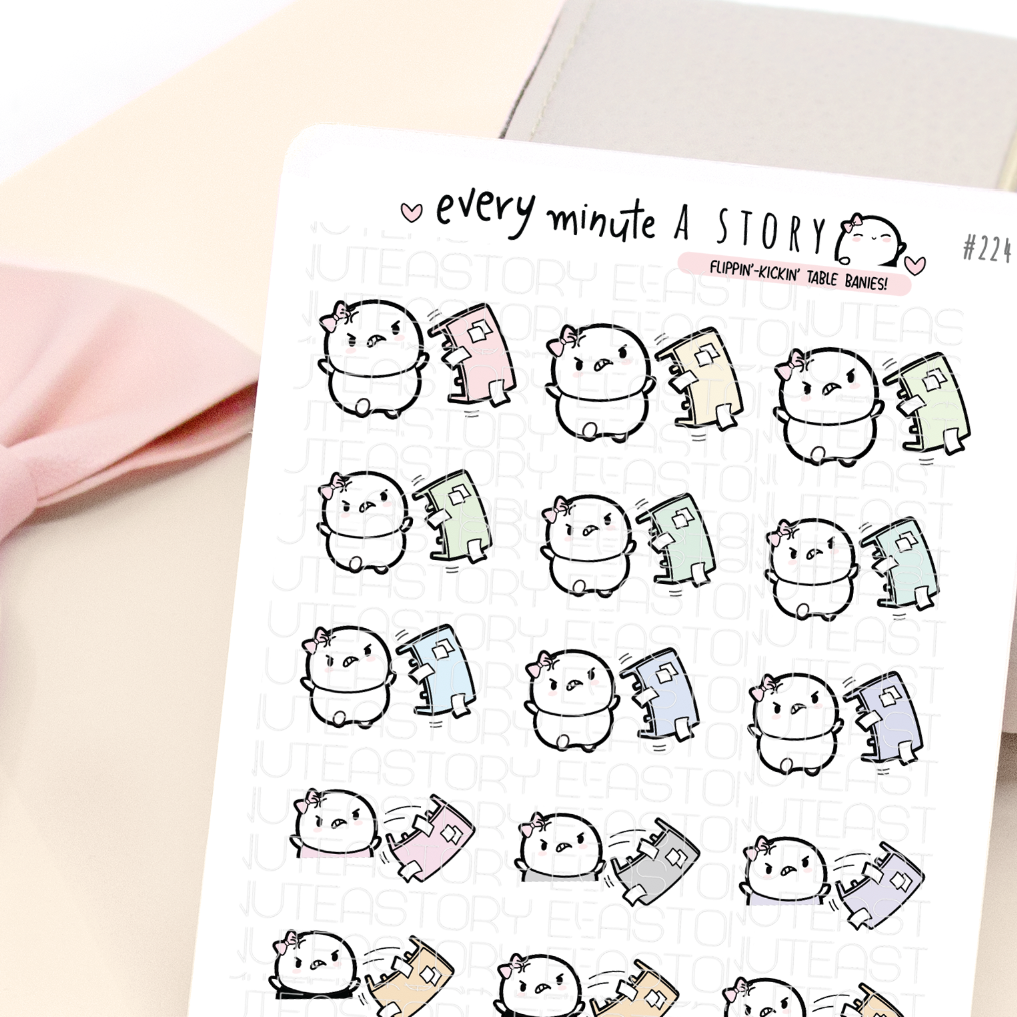 Flipping table Beanie, planner stickers