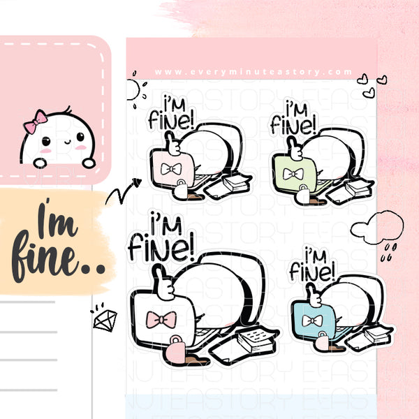 I'm Fine Beanie planner stickers, anxiety, stress - Every Minute A Story